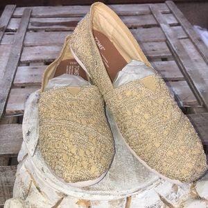 Toms Gold Metallic Crochet Lace Shoes